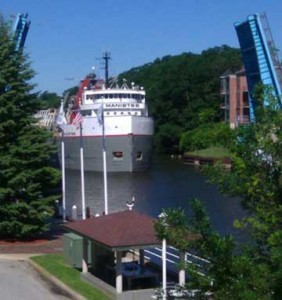 Watch freighters navigate the Manistee River just steps from your room.